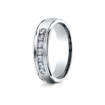18K White Gold 6mm Comfort-Fit Channel Set 7-Stone Diamond Eternity Ring (.42ct)