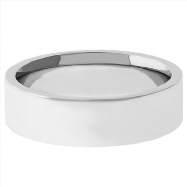 14k White Gold 5mm Comfort Fit Flat Wedding Band Heavy Weight