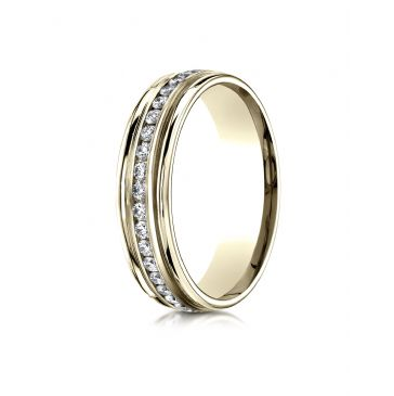 14k Yellow Gold 6mm Comfort-Fit Channel Set  Diamond Eternity Ring.