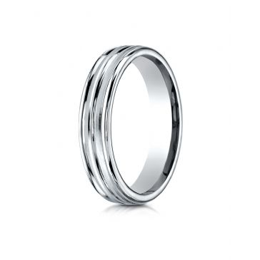 14k White Gold 4mm Comfort-Fit Satin-Finished High Polished Center Trim and Round Edge Carved Design Band
