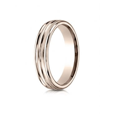 14k Rose Gold 4mm Comfort-Fit Satin-Finished High Polished Center Trim and Round Edge Carved Design Band