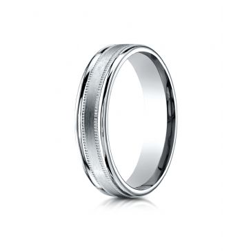 14k White Gold 4mm Comfort-Fit  Satin Finish Center with a round edge and milgrain Carved Design Band