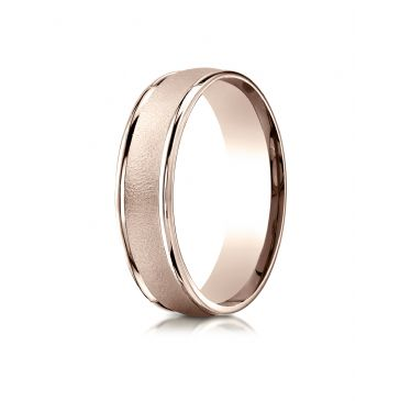 14k Rose Gold 6mm Comfort-Fit Wired-Finished High Polished Round Edge Carved Design Band