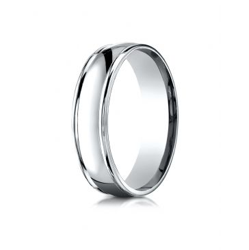 14k White Gold 6mm Comfort-Fit  high polish finish round edge Design band
