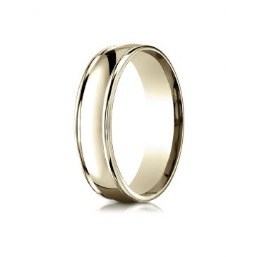14k Yellow Gold 6mm Comfort-Fit  high polish finish round edge Design band