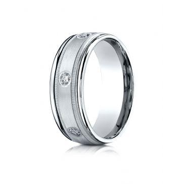 18k White Gold 8mm Comfort-Fit burnish Set 6-Stone Diamond Eternity Ring with Milgrain (.48ct)