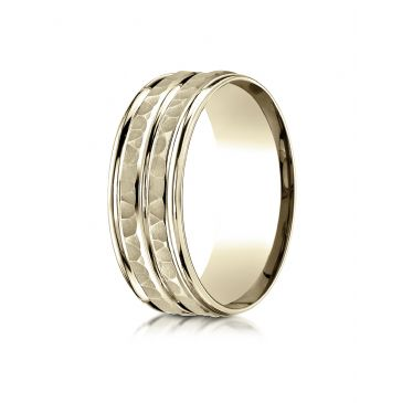 18k Yellow Gold 8mm Comfort-Fit Hammer-Finished High Polished Center Trim and Round Edge Carved Design Band