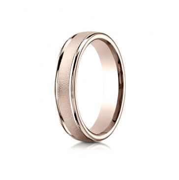14k Rose Gold 4mm Comfort-Fit Wired-Finished High Polished Round Edge Carved Design Band