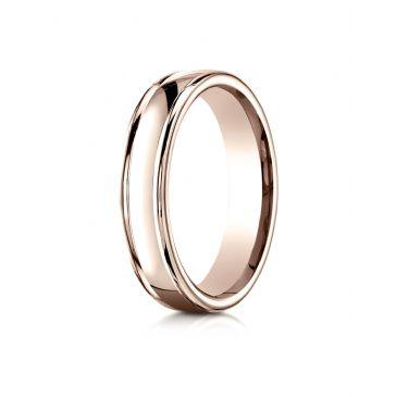 14k Rose Gold 4mm Comfort-Fit Satin-Finished high polish finish round edge Design band