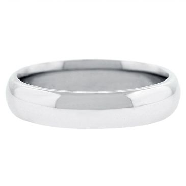 18k White Gold 5mm Comfort Fit Dome Wedding Band Heavy Weight