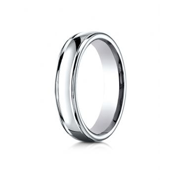14k White Gold 4mm Comfort-Fit Satin-Finished high polish finish round edge Design band