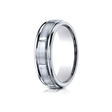 18k White Gold 6mm Comfort-Fit Satin-Finished 8 High Polished Center Cuts and Round Edge Carved Design Band