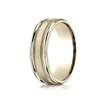 18k Yellow Gold 7mm Comfort-Fit Satin Finish Center with Milgrain Round Edge Carved Design Band
