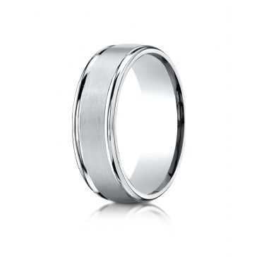 14k White Gold 7mm Comfort-Fit Satin Finish High Polished Round Edge Carved Design Band