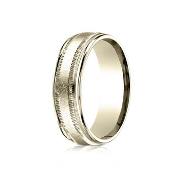 14k Yellow Gold 7mm Comfort-Fit Swirl Finish Center Milgrain Round Edge Carved Design Band