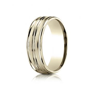 10k Yellow Gold 7mm Comfort-Fit Satin-Finished High Polished Center Trim and Round Edge Carved Design Band