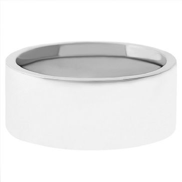14k White Gold 7mm Comfort Fit Flat Wedding Band Heavy Weight