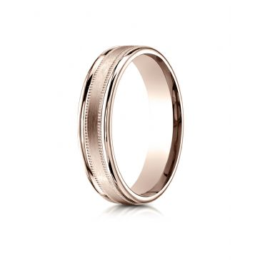14k Rose Gold 4mm Comfort-Fit  Satin Finish Center with a round edge and milgrain Carved Design Band