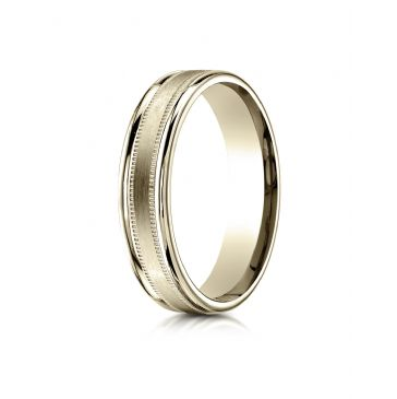 18k Yellow Gold 4mm Comfort-Fit  Satin Finish Center with a round edge and milgrain Carved Design Band