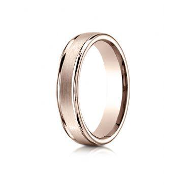 14k Rose Gold 4mm Comfort-Fit Satin-Finished High Polished Round Edge Carved Design Band