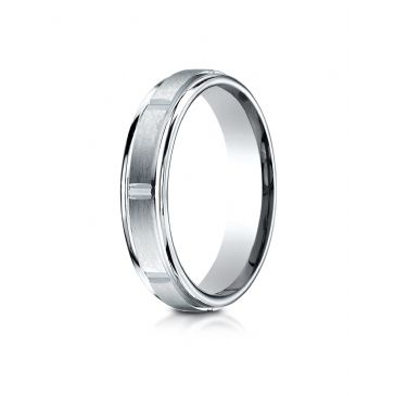 18k White Gold 4mm Comfort-Fit Satin-Finished 8 High Polished Center Cuts and Round Edge Carved Design Band