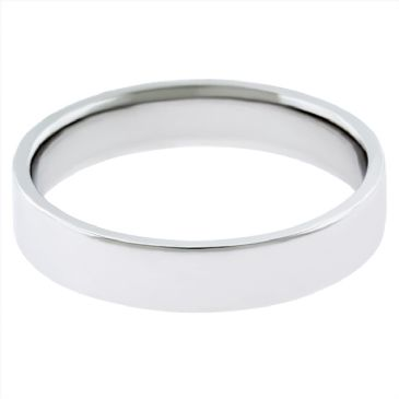 18k White Gold 3mm Flat Wedding Band Medium Weight