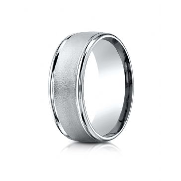 14k White Gold 8mm Comfort-Fit Wire brush Finish High Polished Round Edge Carved Design Band