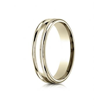 14k Yellow Gold 4mm Comfort-Fit  High Polished finish with a round edge and milgrain Carved Design Band