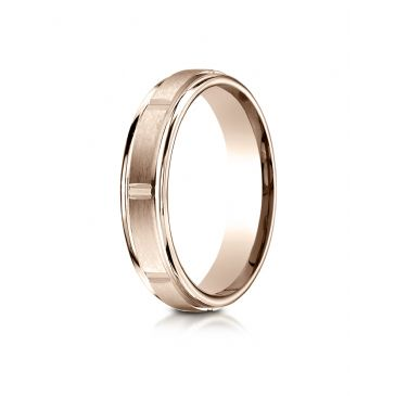 14k Rose Gold 4mm Comfort-Fit Satin-Finished 8 High Polished Center Cuts and Round Edge Carved Design Band