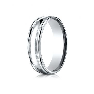 18k White Gold 6mm Comfort-Fit High Polished with Milgrain Round Edge Carved Design Band