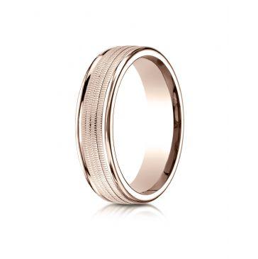 14k Rose Gold 6mm Comfort-Fit  multi milgrain center high polish round edge Design band