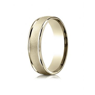 14k Yellow Gold 6mm Comfort-Fit Wired-Finished High Polished Round Edge Carved Design Band