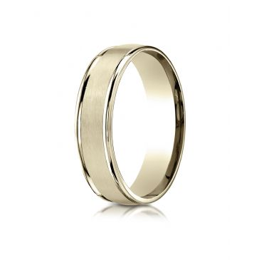 18k Yellow Gold 6mm Comfort-Fit Satin Finish High Polished Round Edge Carved Design Band