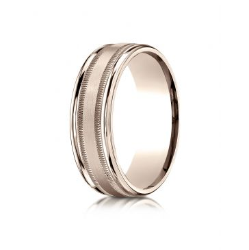 14k Rose Gold 7mm Comfort-Fit Satin Finish Center with Milgrain Round Edge Carved Design Band