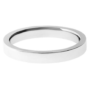 18k White Gold 3mm Flat Wedding Band Heavy Weight