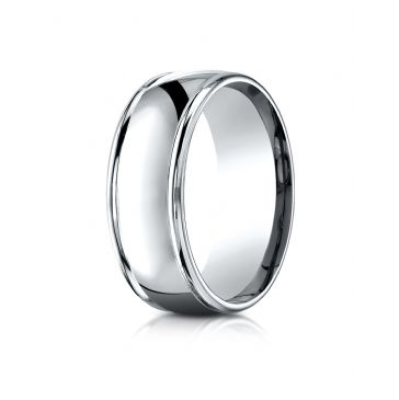 18k White Gold 8mm Comfort-Fit  high polish finish round edge Design band