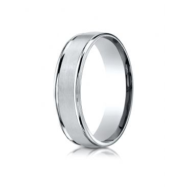 10k White Gold 6mm Comfort-Fit Satin Finish High Polished Round Edge Carved Design Band