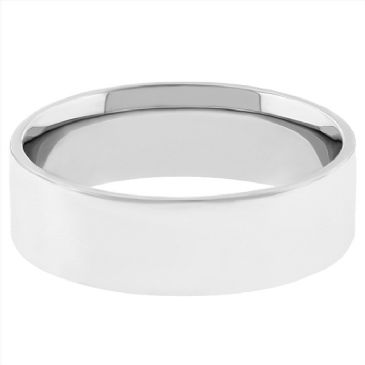 18k White Gold 5mm Flat Wedding Band Medium Weight