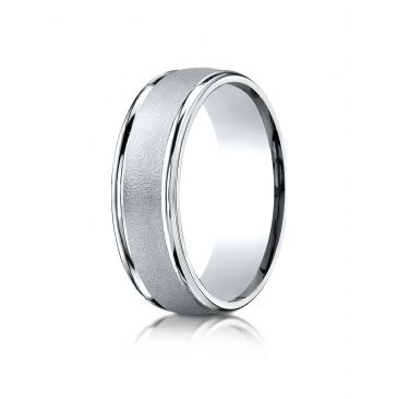 18k White Gold 7mm Comfort-Fit Wired-Finished High Polished Round Edge Carved Design Band