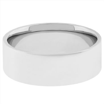 18k White Gold 6mm Flat Wedding Band Medium Weight