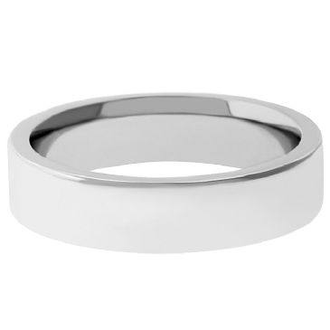 18k White Gold 4mm Flat Wedding Band Heavy Weight