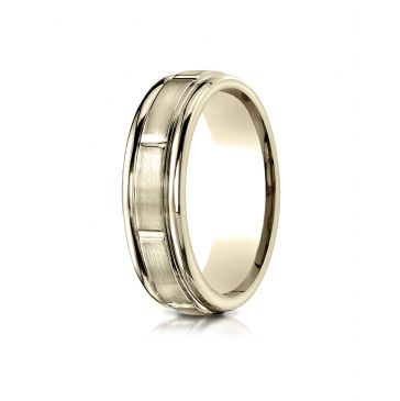 14k Yellow Gold 6mm Comfort-Fit Satin-Finished 8 High Polished Center Cuts and Round Edge Carved Design Band