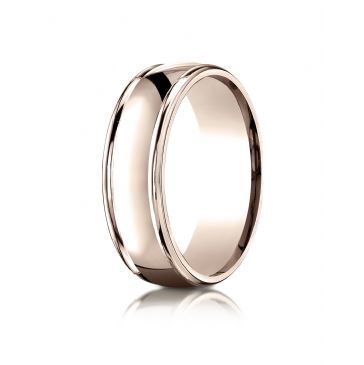 14k Rose Gold 7mm Comfort-Fit  high polish finish round edge Design band