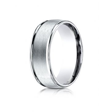 18k White Gold 8mm Comfort-Fit Satin Finish High Polished Round Edge Carved Design Band
