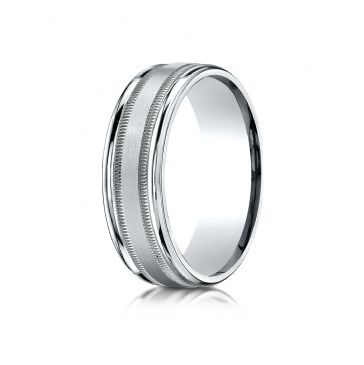 18k White Gold 7mm Comfort-Fit Satin Finish Center with Milgrain Round Edge Carved Design Band