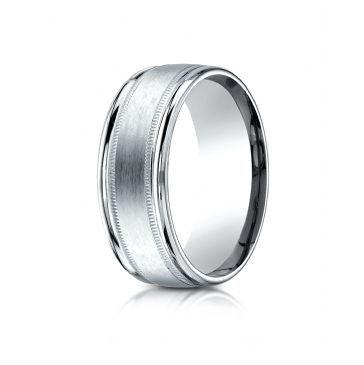 14k White Gold 8mm Comfort-Fit Satin Finish Center with Milgrain Round Edge Carved Design Band