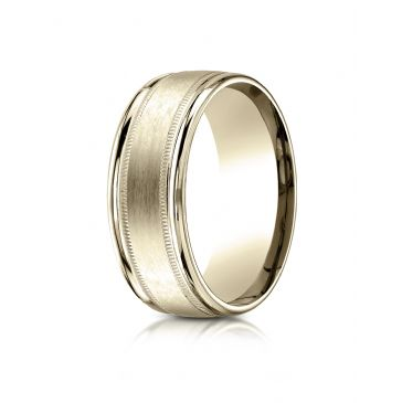 18k Yellow Gold 8mm Comfort-Fit Satin Finish Center with Milgrain Round Edge Carved Design Band