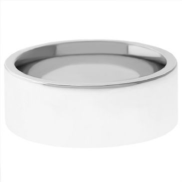 18k White Gold 6mm Flat Wedding Band Heavy Weight
