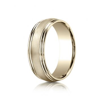 14k Yellow Gold 7.5mm Comfort-Fit Satin-Finished Double Round Edge Carved Design Band