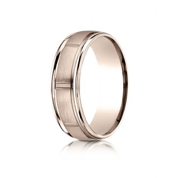 14k Rose Gold 7mm Comfort-Fit Satin-Finished 8 High Polished Center Cuts and Round Edge Carved Design Band